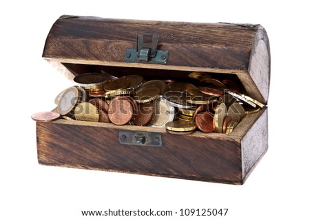 Treasure box filled with Euro-Coins isolated on white background