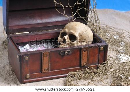 treasure chest and skull