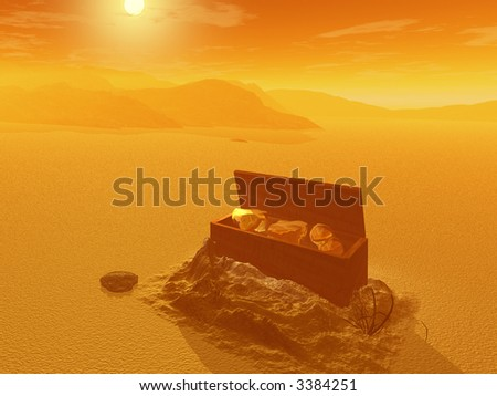 Treasure chest in the desert - digital illustration