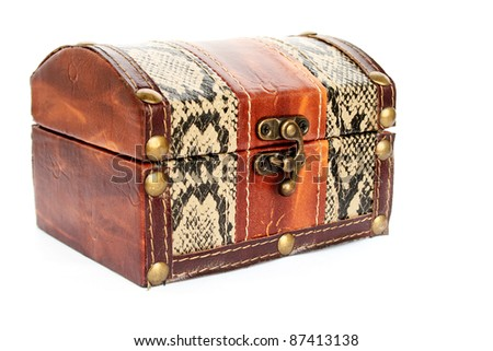 Treasure chest isolated on white background.