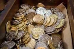 Treasure chest of fake coins