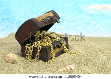 Treasure chest on a beach