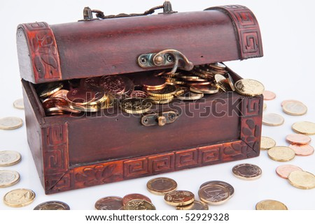 Treasure chest with Euro coins. Isolated on a white background.
