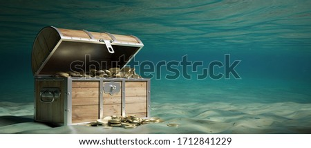 Treasure chest with gold underwater on the seabed. Old wooden trunk with open lid full of golden coins. 3d illustration Сток-фото ©