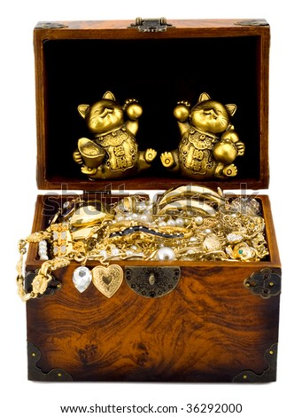 Treasure chest with golden lucky cat and gold , isolated on white background