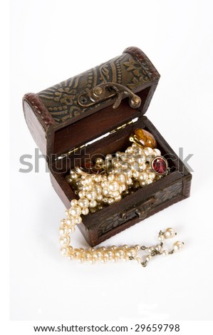 Treasure chest with jewelry, isolated on white background