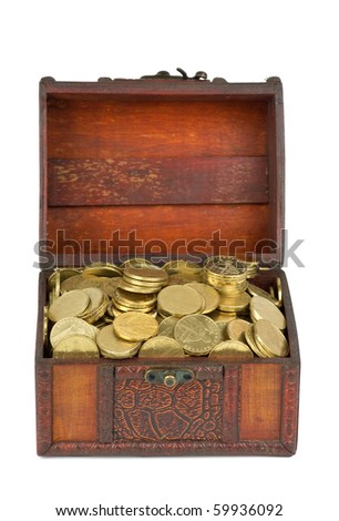 Treasure: wooden chest with golden coins  isolated on the white background