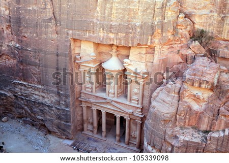Treasury in ancient city of Petra in Jordan. It was carved out of a single rocks. It is now an UNESCO World Heritage Site. Petra, Jordan
