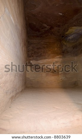 Treasury temple inside of Nabatean temple or tomb in UNESCO site Petra (Al Khazneh), Jordan. Siq canyon.