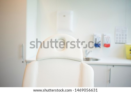 treatment chair in a clean treatment room for treatments such as minor interventions in a clinic