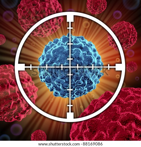 Treatment for cancer cells spreading and growing as malignant cells in a human body caused by environmental carcinogens and genetics showing a target aiming at the cancerous cell. - stock photo