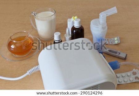 Treatment of diseases of the respiratory tract: a nebulizer, tablets, drops, medicine, hot milk and honey
