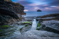 Trebarwith Strand North Cornwall In England Early In The Morning At Sunrise