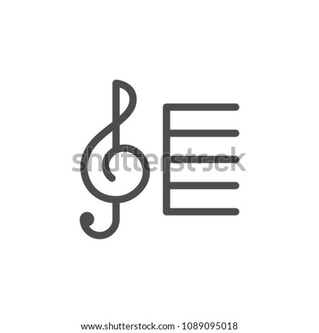 Treble clef line icon isolated on white