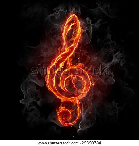 Treble clef - Series of fiery illustrations