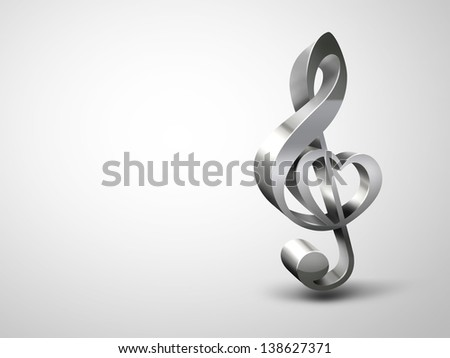treble clef with the shape of a heart on a light background