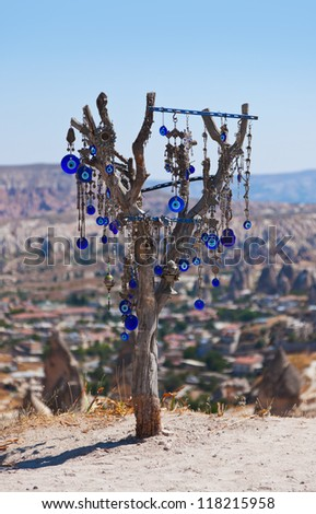 Tree and evil eye amulet in Cappadocia Turkey - nature background
