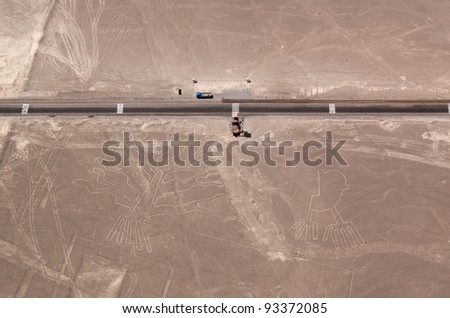 Tree (Arbol) and Hands (Manos) lines in Nazca desert. Also part of the Lizard lines, cutted by panamerican highway and erased by tire tracks. Peru.