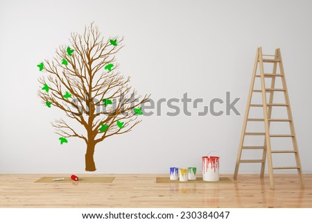 Tree as wall decall in room during a renovation (3D Rendering)