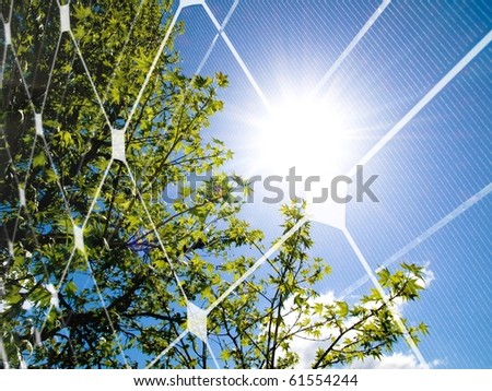 Tree at spring against the sun and photovoltaic panel