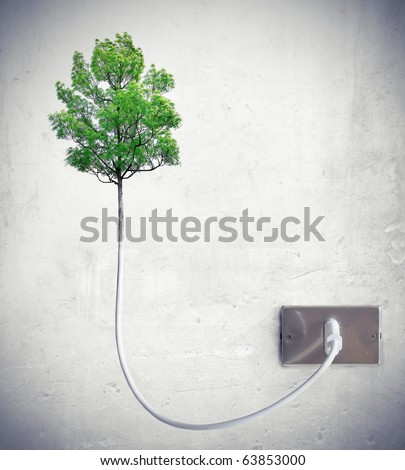 Tree attached to a light socket - stock photo