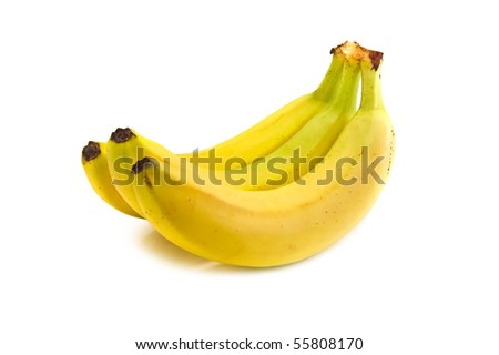 tree bananas isolated on white