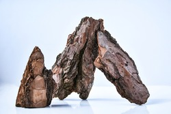 Tree Bark or Garden Mulch Isolated on White Background, Pine large single brown dry bark piece