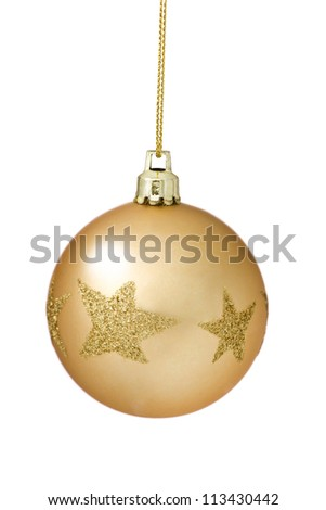 Tree Bauble Golden Christmas  ball  coated with glitter star pattern hanging. Over white background.
