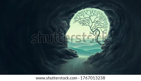 Tree brain with human head cape, idea concept of thinking  hope freedom and mind , surreal artwork, dream art , fantasy landscape, imagination spiritual of nature