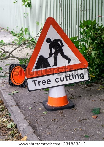 Tree cutting safety sign and cone on the street warning about of danger zone with fallen branches and sawdust on the asphalt