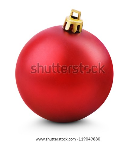 Tree decoration - Red christmas ball isolated on white with clipping path