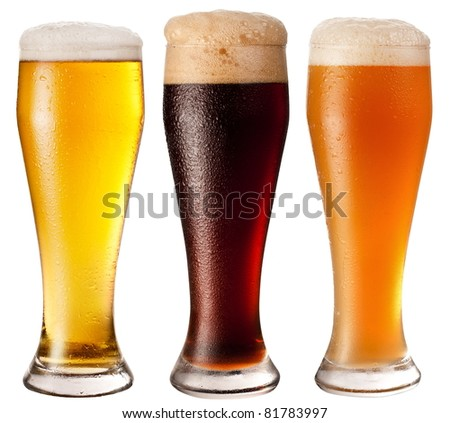 Tree glasses with different beers on a white background. The file contains a path to cut.
