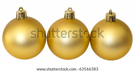 tree golden balls isolated on white, Christmas decoration