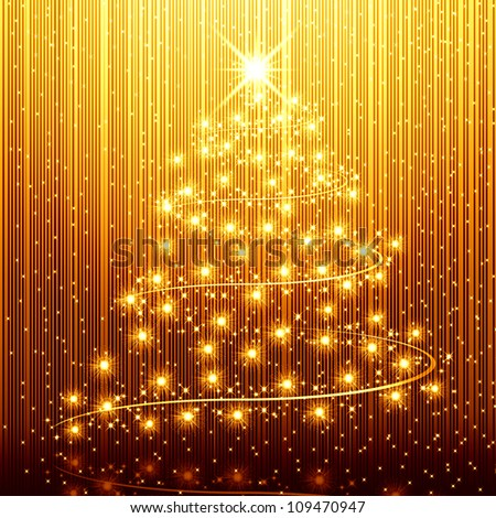 Tree golden christmas background