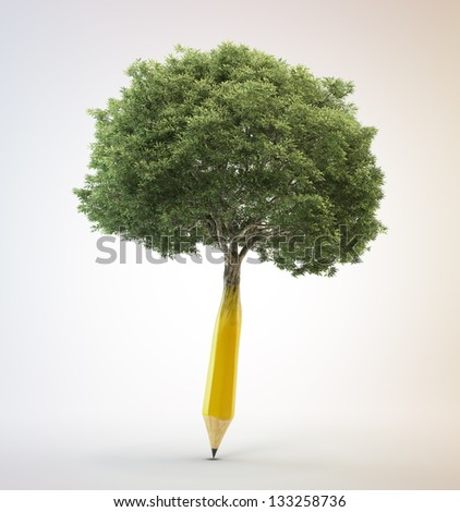Tree growing out of a pencil - creativity concept