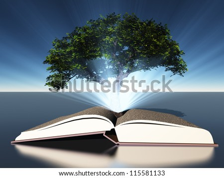 Tree growing out of book