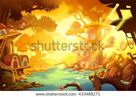 stock photo tree house in forest under gold ray of sun video game digital cg artwork concept illustration 433488271 - Каталог — Фотообои «Для детской»