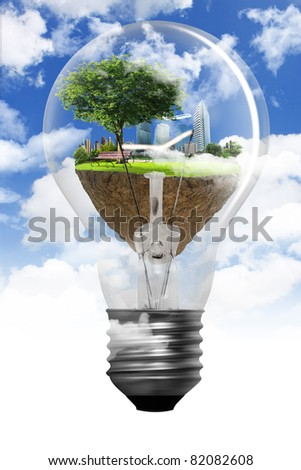 Tree in a light bulb - stock photo