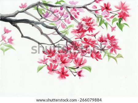 Tree in blossom with pink flowers watercolor painting Asian style