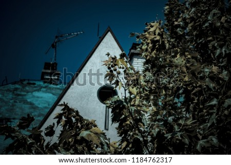 Tree in foreground and house in background #1184762317