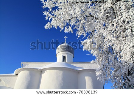 tree in snow against christian church