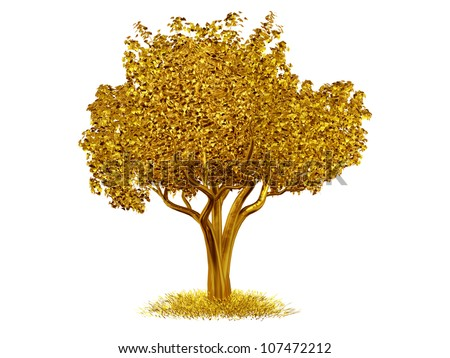 tree made of gold - stock photo