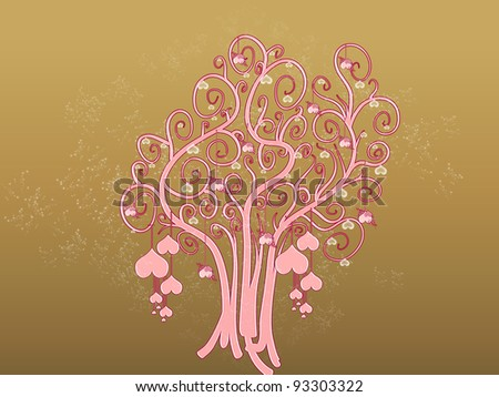Tree of hearts on golden sparkles background
