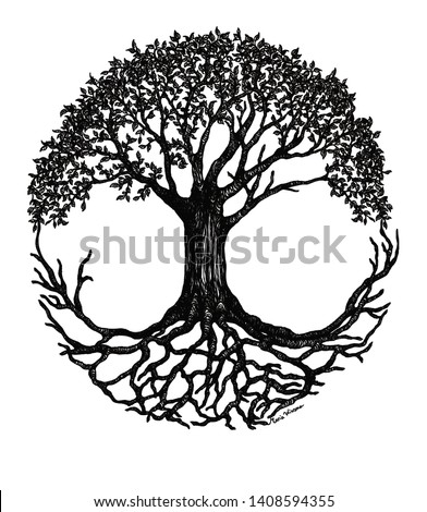 Tree of Life circle, black and white illustration