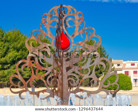 tree of life with blood drop symbol Huercal-Overa Andalusia Spain