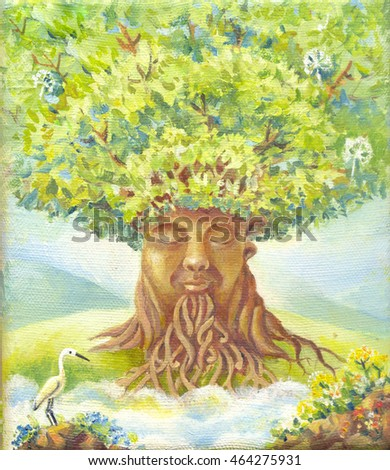 tree of wisdom, oil painting, suit for poster, print, wallpaper, backgroung, as illustration. Fantasy picture. Fantastic illustration. Magic story. Hand drawn sketch