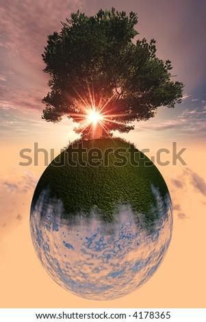 Tree Planet, environmental illustration - stock photo