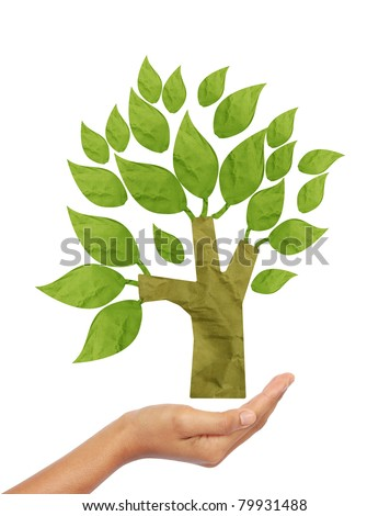 Tree recycle paper craft stick on hand white background