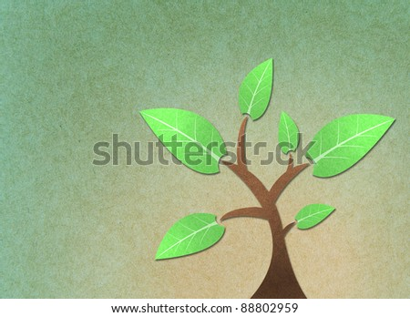 Tree recycled paper craft stick - stock photo