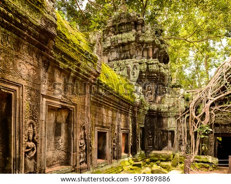 Tree roots over the Ta Prohm (Rajavihara), a temple at Angkor, Province, Cambodia. It was founded by the Khmer King Jayavarman VII as a Mahayana Buddhist monastery and university. Imagine de stoc ©